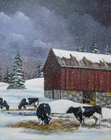 Holstein Dairy Cows in Snow with Red Barn