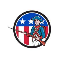 American Soldier Marching Rifle USA Flag Circle Ca