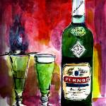 """Absinthe for Two Pernod Bottle Watercolor Painting"" by GinetteCallaway"
