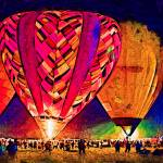 """Hot Air Balloons Night Festival In Abstract"" by Kirtdtisdale"