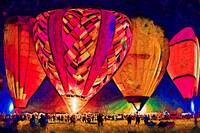 Hot Air Balloons Night Festival In Abstract