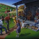 """Folk Dancing Mountain Music Appalachian Folk Art"" by walt-curlee"