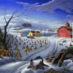 """Folk Art Winter Deer Appalachian Country Landscape"" by walt-curlee"