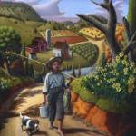 """Boy Dog Rural Country Farm Folk Art Landscape"" by walt-curlee"