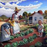 """Family Vegetable Garden Gardening Farm Landscape"" by walt-curlee"