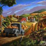 """Pumpkins Rural Fall Farm Folk Art Scene Landscape"" by walt-curlee"