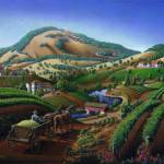 """Old Wine Country Tuscan Vineyards Art Landscape"" by walt-curlee"