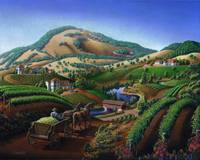 Old Wine Country Tuscan Vineyards Art Landscape