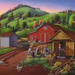 """Farmers Shuck Corn Folk Art Farm Fall Landcape"" by walt-curlee"