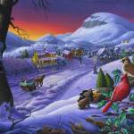 """Sleigh Ride Winter Cardinals Farm Landscape"" by walt-curlee"