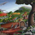 """Wild Turkey Appalachian Country Folk Art Landscape"" by walt-curlee"