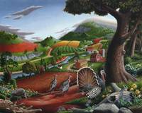 Wild Turkey Appalachian Country Folk Art Landscape