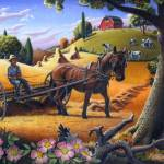"""Farmer Raking Hay Farm Folk Art Scene Landscape"" by walt-curlee"