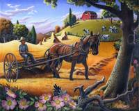 Farmer Raking Hay Farm Folk Art Scene Landscape