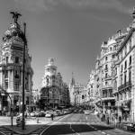 """The end of the Calle de Alcalá B&W"" by TomGomez"