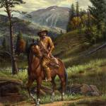 """Jim Bridger Mountain Man Western Landscape Art"" by walt-curlee"