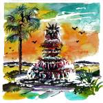 """Charleston Pineapple Fountain SC"" by GinetteCallaway"