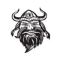 Viking Warrior Head Angry Black and White