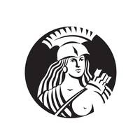 Female Spartan Warrior Circle Black and White