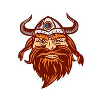 Viking Warrior Head Angry Isolated Retro