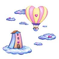 Sweet Love, hot air balloon romantic scenery