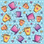 """Colorful coffee cups pattern with hearts"" by nopiepan"