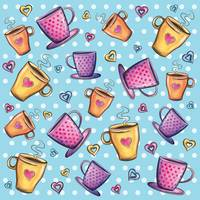 Colorful coffee cups pattern with hearts