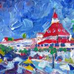 """Hotel del Coronado Poolside Abstract"" by BeaconArtWorksCorporation"