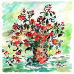 """Vase with Red Roses Watercolor and Ink"" by GinetteCallaway"