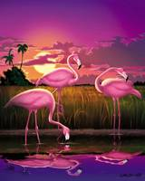 Pink flamingos Eveglades Florida Sunset Retro Art