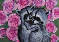 Raccoons in love with roses