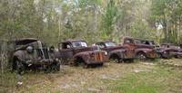 Row of Rusty Resting Ford Pickups