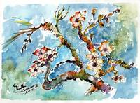 Blossoming Almond Tree Watercolor by Ginette