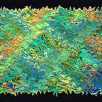 """Blue Yellow Liquid ZigZag on Black"" by KsWorldArt"