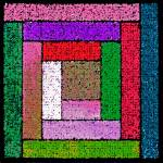 """Bright Log Cabin Quilt Square"" by KsWorldArt"