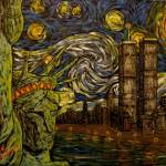 """Dedication NYC Starry Night Twin Towers"" by jacklepper"