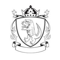 Alligator Standing Coat of Arms Black and White