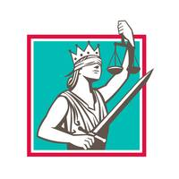 Lady Justice Raising Scales Sword Square Retro