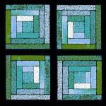"""Aqua Blue Quilt Squares"" by KsWorldArt"