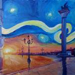 """Starry Night in Venice Italy - San Marco with Lion"" by arthop77"