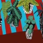 """plants on stripes print"" by pfleghaar"