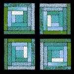 """Blue Green Quilt Squares"" by KsWorldArt"