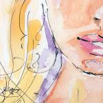 """Curves Lips Watercolor and Ink"" by GinetteCallaway"