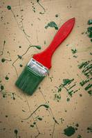 Paint brush with green colours