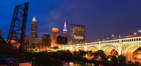 Cleveland Skyline from the Flats at Sunset Panoram