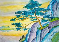Pastel watercolor painting of a japanese pine tree