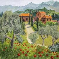 Oil painting of tuscan landscape