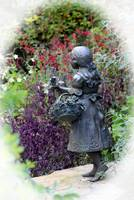 Statue In the Garden White Vignette