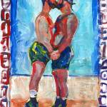 """Tippy Toes Male Couple Kissing"" by BeaconArtWorksCorporation"