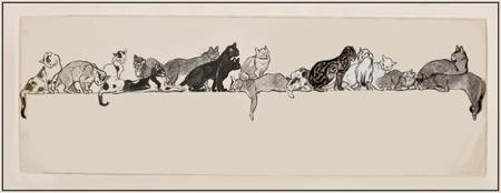 Steinlen 'Seventeen Cats on a Ledge' 1901 Graphite